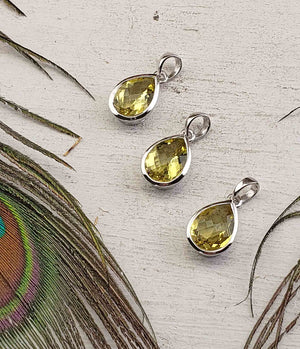Lemon Quartz Gemstone Sterling Silver Pendant - Brigid