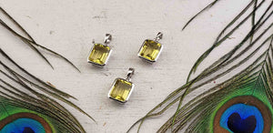 Lemon Quartz Gemstone Sterling Silver Pendant - Candida