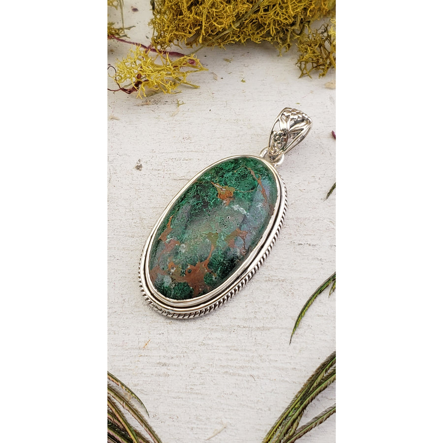 Sonora Chrysocolla Gemstone Sterling Silver Pendant