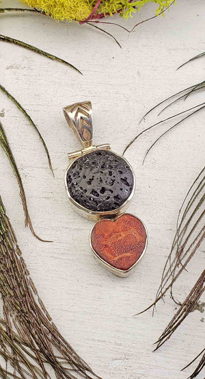 Lava Rock with Red Coral Sterling Silver Pendant