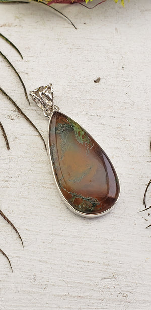 Moss Agate Sterling Silver Gemstone Pendant