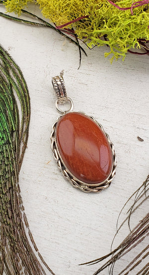 Red Jasper Sterling Silver Gemstone Pendant