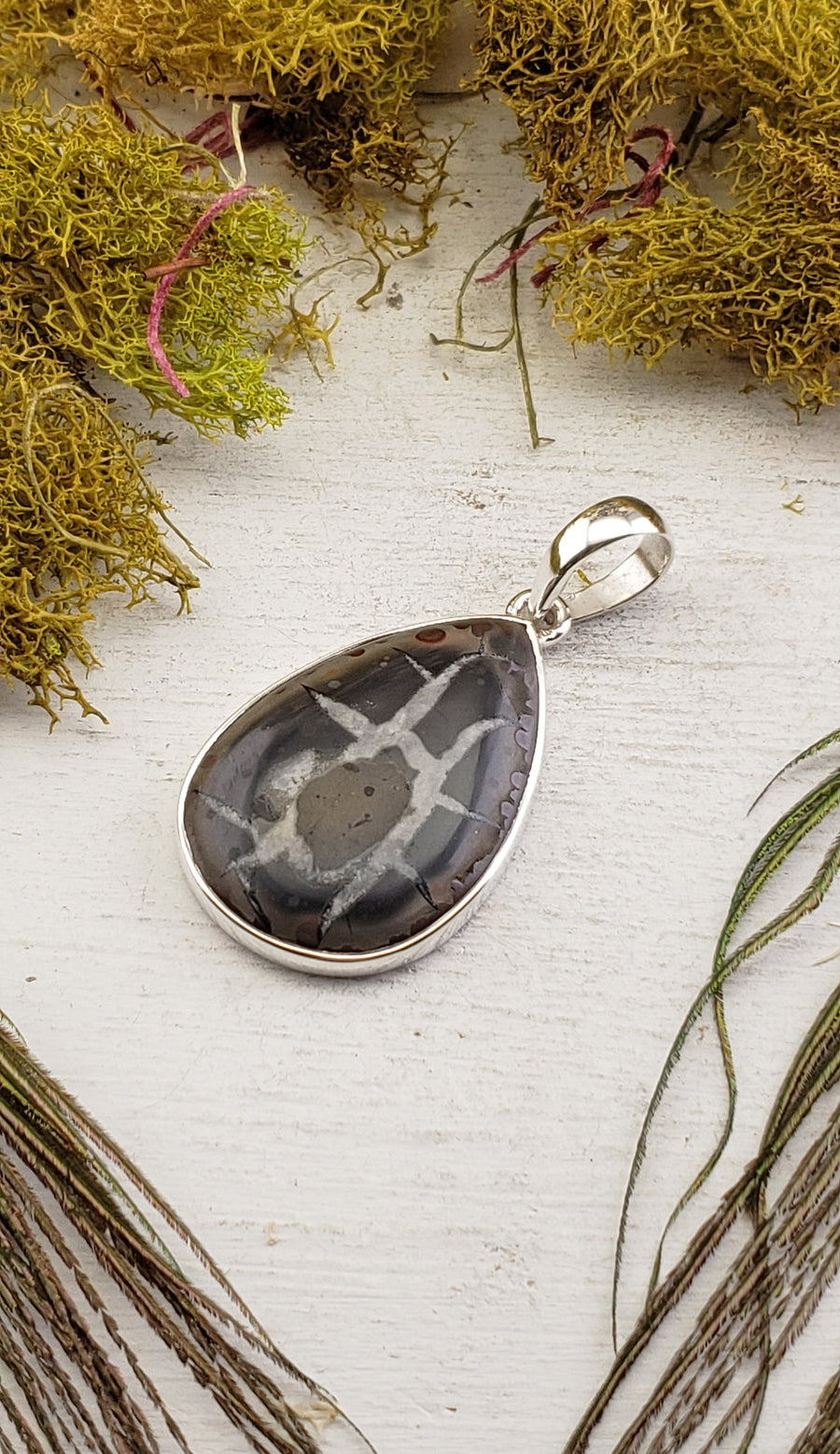 Septarian Gronate Gemstone Sterling Silver Pendant