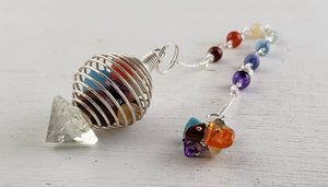 Chakra Cage & Quartz Pendulum- Tool of Divination, Magic, and Spirit World Communication