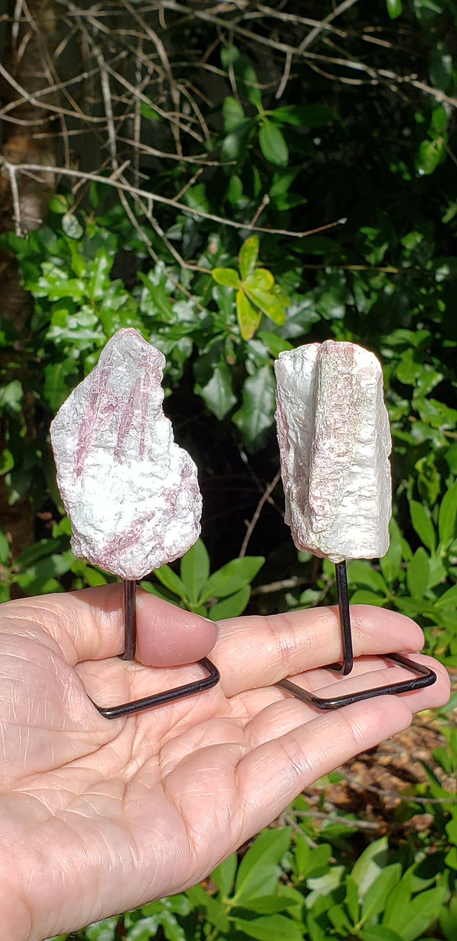 Pink Tourmaline in Quartz Natural Gemstone Sculpture on Metal Stand