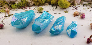 Aqua Aura Quartz Polished Gemstone Points