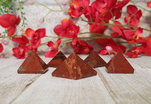 Red Jasper Gemstone Pyramid Carving