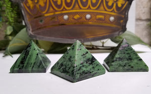 Ruby Zoisite Gemstone Pyramid Carving