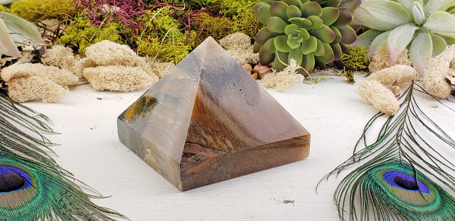 Multi Tiger Eye Gemstone Pyramid