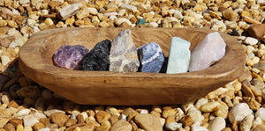 Perfect Essential Healing Gemstone Set - 6 Rough Stones In Wooden Dish Crystal Clusters