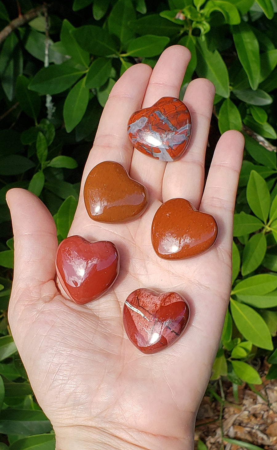 Red Brecciated Jasper Polished Gemstone Puffy 30mm Heart Carving