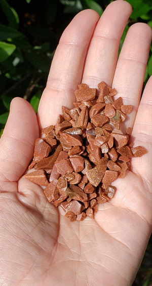 Red Goldstone Gemstone Chips - 1 Ounce Bag