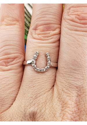 10k White Gold Horseshoe Ring with White Diamonds