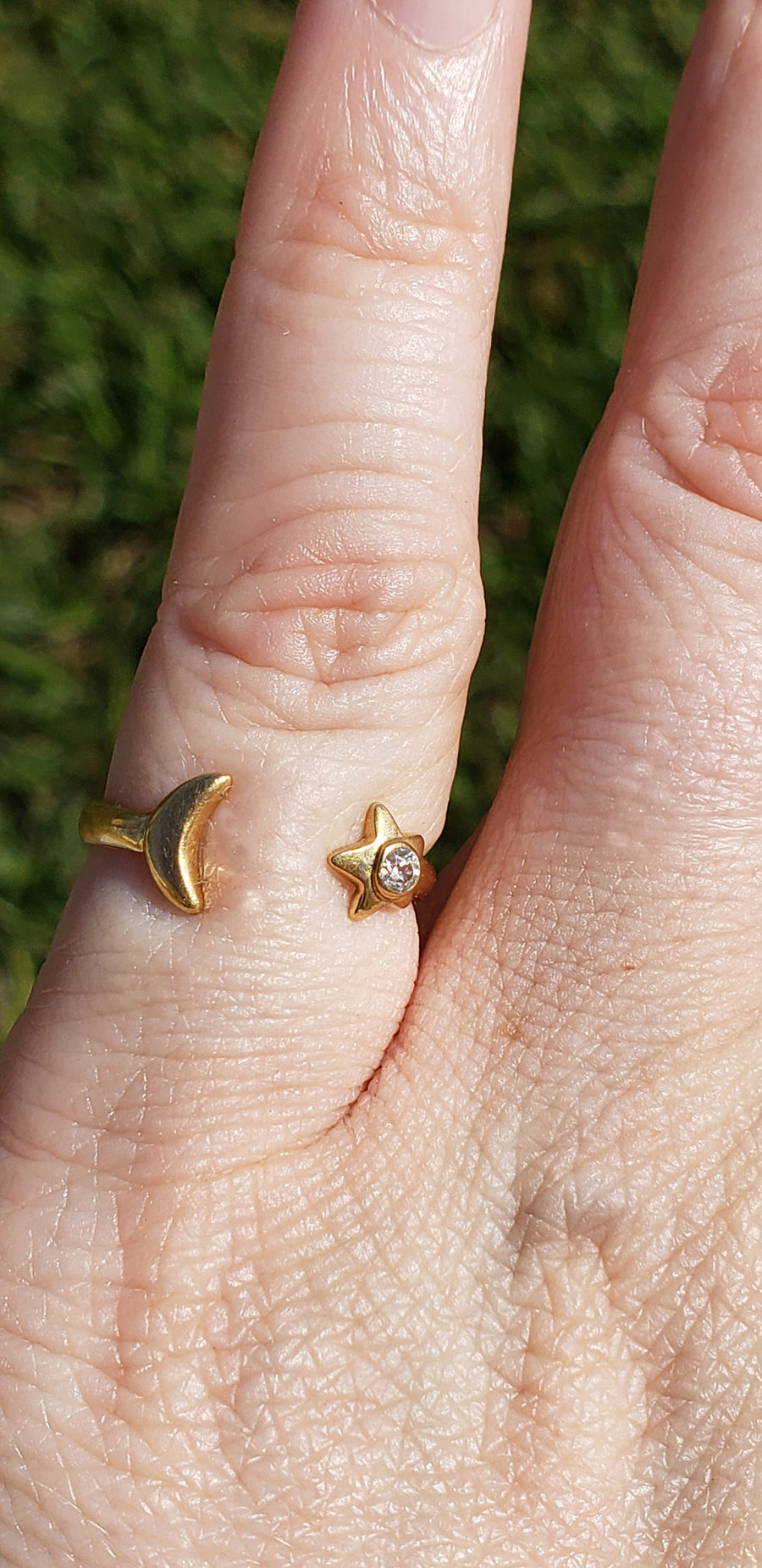 14k Yellow Gold Diamond Star & Moon Ring