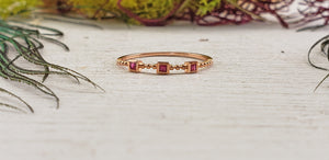 10k Ruby Gemstone Rose Gold Ring