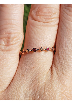 10k Ruby Gemstone Rose Gold Floral Ring