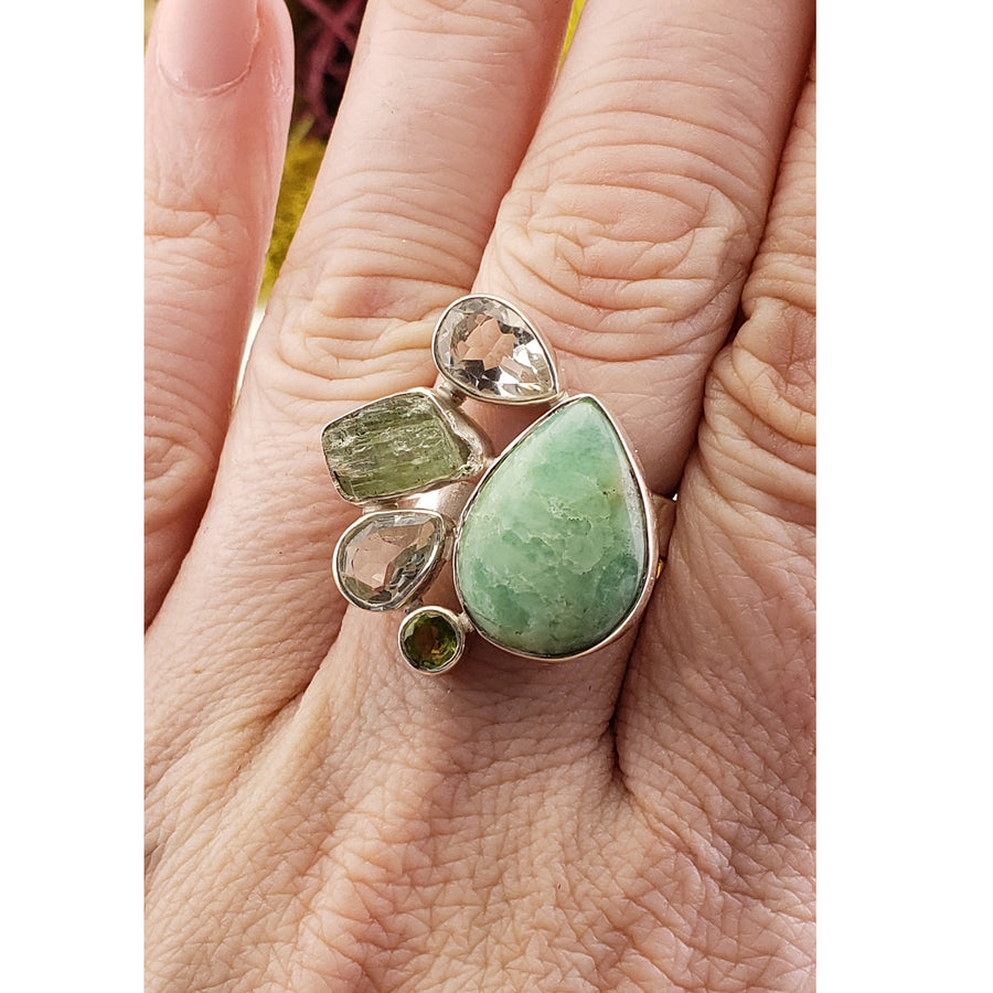 Amazonite, Quartz, Green Tourmaline, & Peridot Sterling Silver Ring