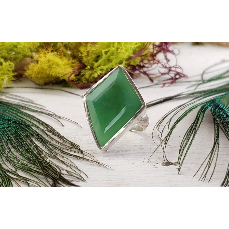 Chrysoprase Gemstone Sterling Silver Ring