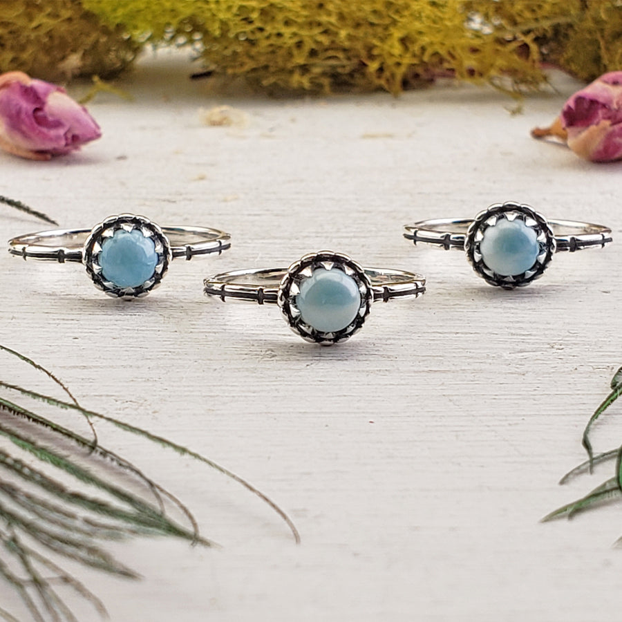 Larimar Gemstone Sterling Silver Ring - Carlie