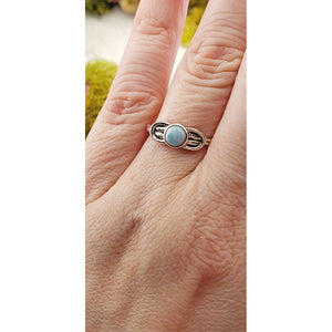 Larimar Gemstone Sterling Silver Ring - Isadora