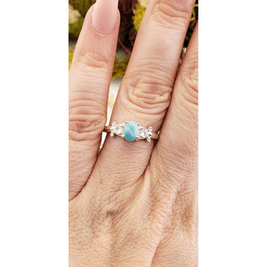 Larimar & Rainbow Moonstone Gemstone Sterling Silver Ring - Greta