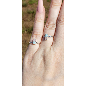 Larimar & Rainbow Moonstone Gemstone Sterling Silver Ring - Farah