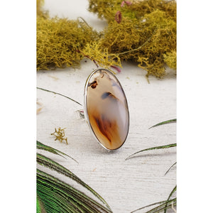 Montana Agate Gemstone Sterling Silver Ring