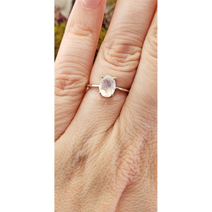 Rainbow Moonstone Gemstone Sterling Silver Ring - Rook