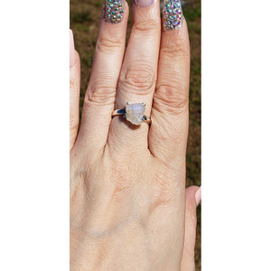 Rainbow Moonstone Gemstone Sterling Silver Ring - Jura