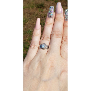 Rainbow Moonstone Gemstone Sterling Silver Ring - Mona