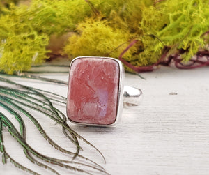 Rhodocrosite Gemstone Sterling Silver Ring