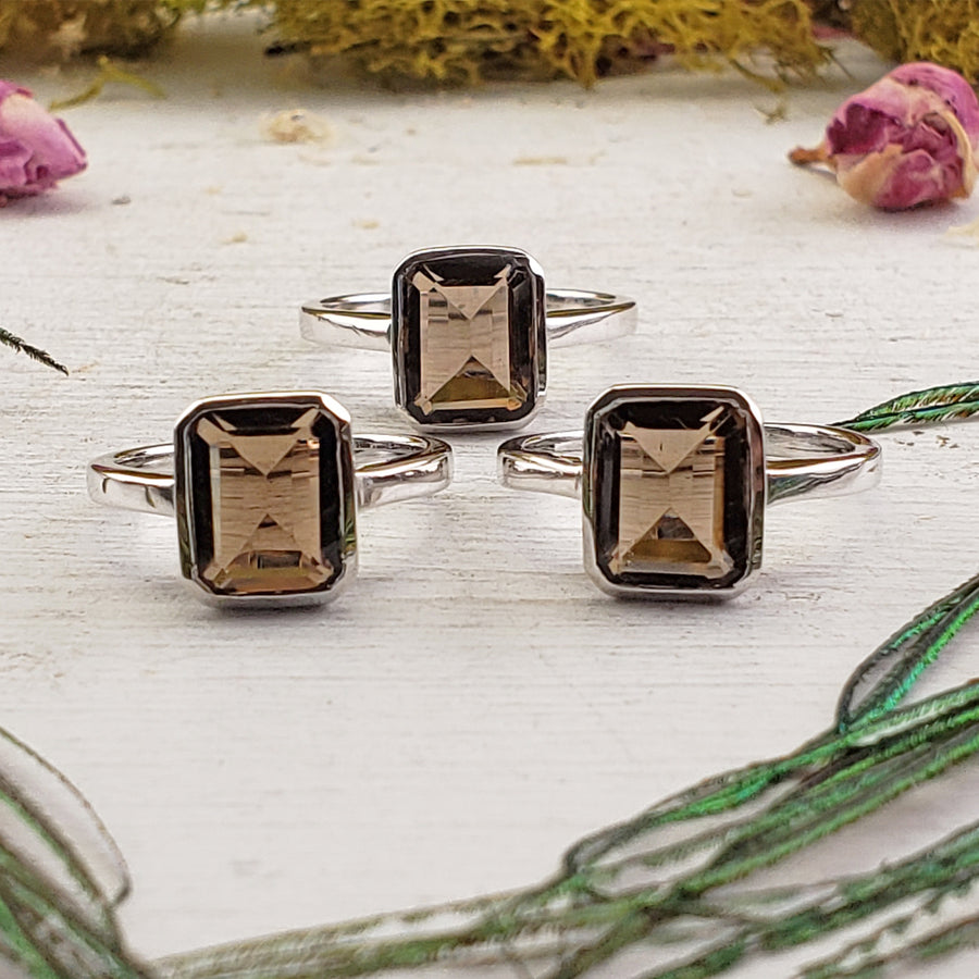 Smoky Quartz Gemstone Sterling Silver Ring - Odalis