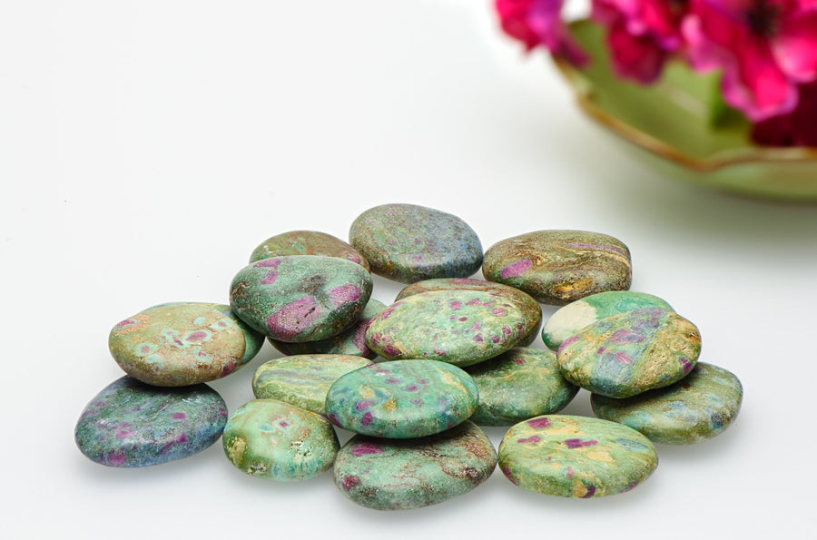 Ruby Fuchsite Meditation Palm Stone Polished