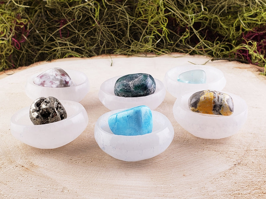 Selenite Gemstone Bowl With Tumbled Stone - Great Holiday Gift For Her Or Him Gemstones