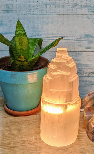 Selenite Tower Gemstone Lamp