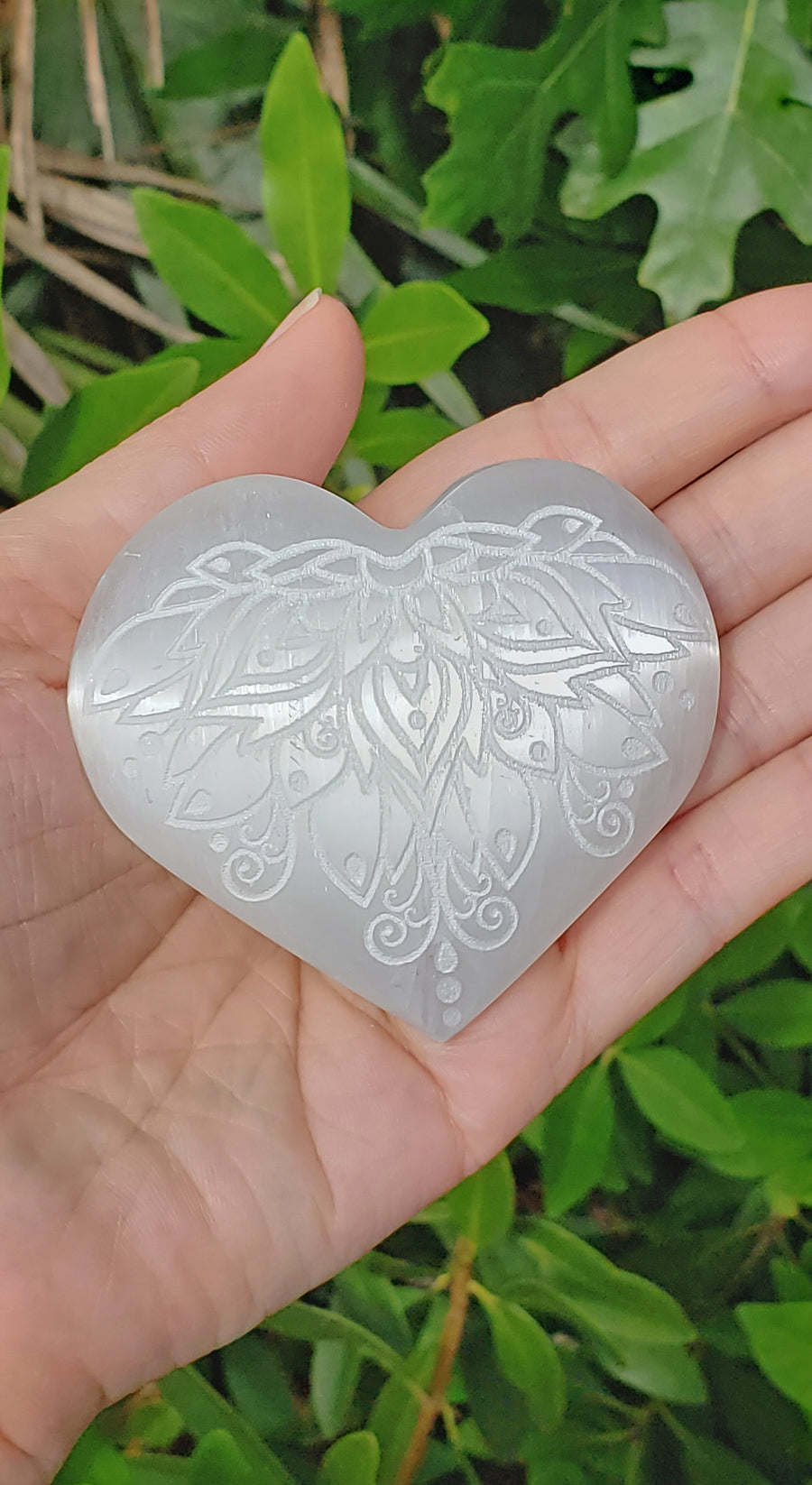 Selenite Natural Gemstone Heart Engraved with Lotus