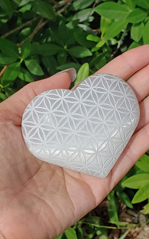 Selenite Natural Gemstone Heart Engraved with Flower of Life