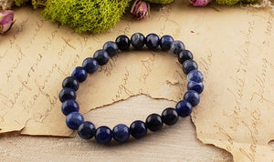 Sodalite Gemstone Polished Bead Bracelet Jewelry