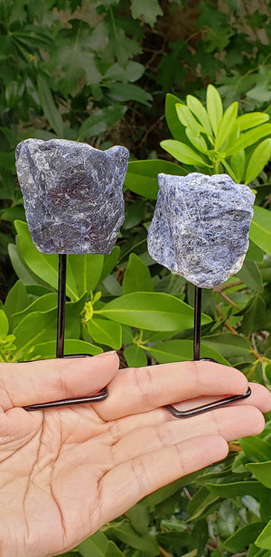Sodalite Natural Gemstone Sculpture on Metal Stand