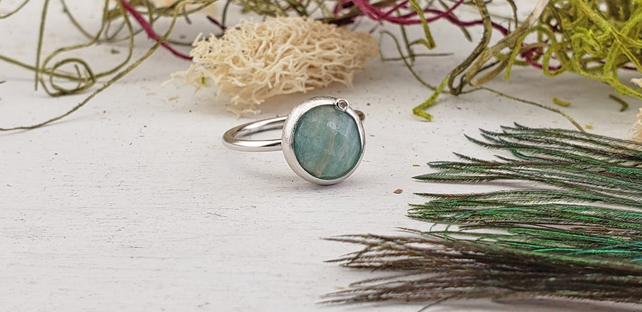 Amazonite Sterling Silver Ring with Diamond Accent