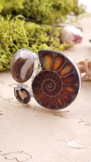 Ammonite Shell Smoky Quartz Mushroom Rhyolite Gemstone Sterling Silver Ring Jewelry