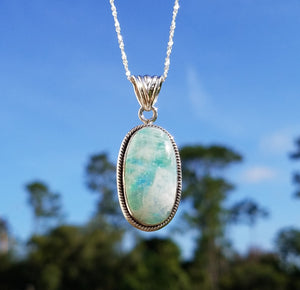 Rainbow Moonstone Blue And Green Gemstone Sterling Pendant Jewelry