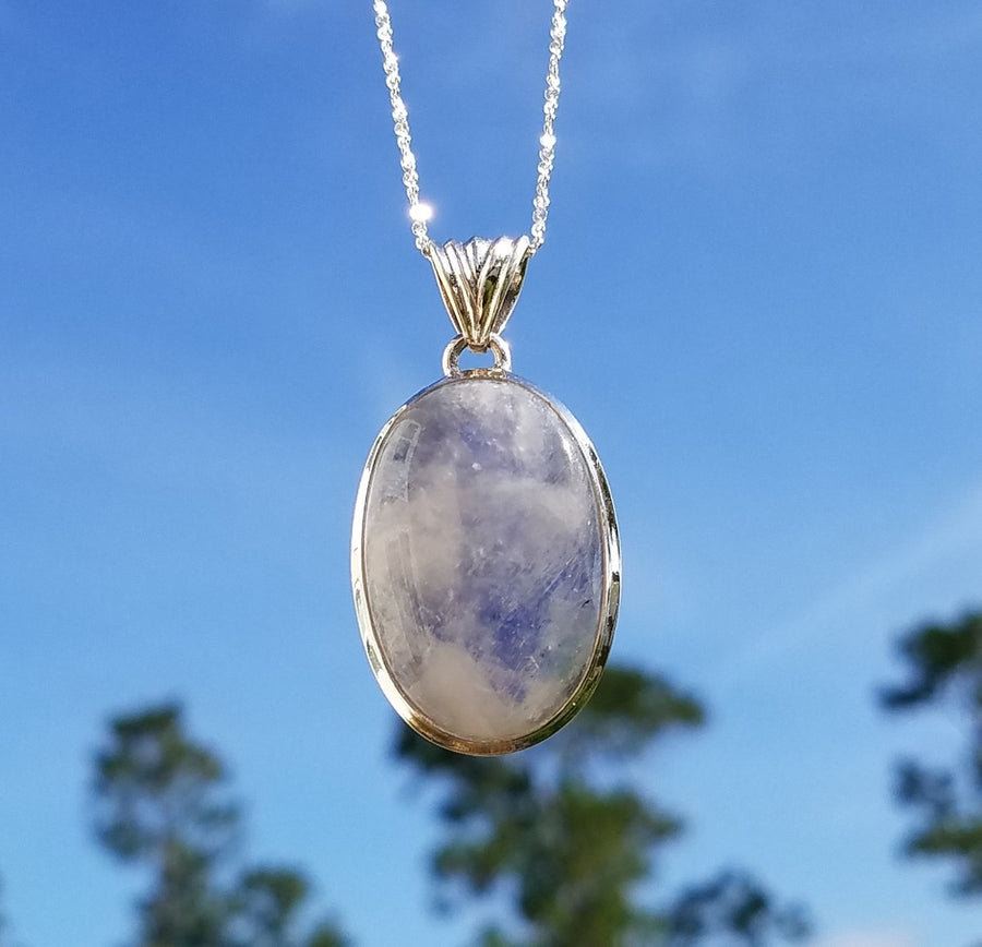Rainbow Moonstone Blue And Purple Gemstone Sterling Silver Pendant Jewelry