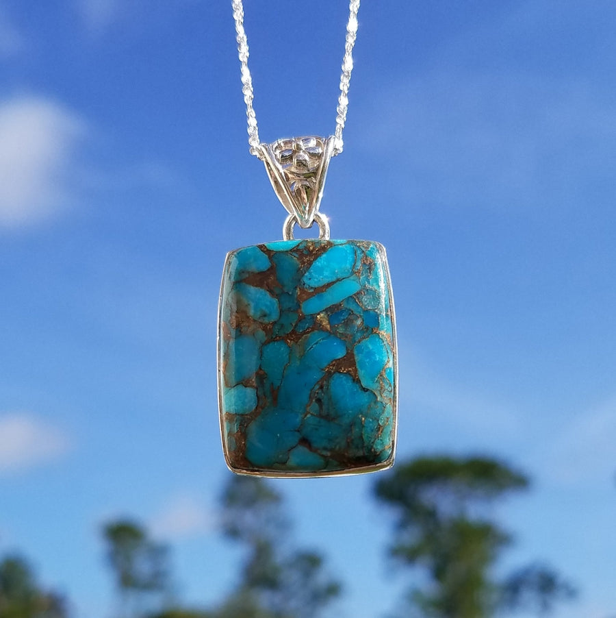 Mojave & Turquoise Gemstone Sterling Silver Pendant Jewelry