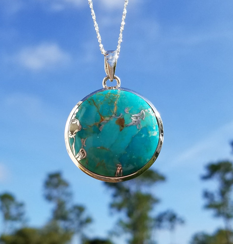 Turquoise Gemstone Sterling Silver Pendant Jewelry
