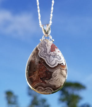 Red Crazy Lace Agate Sterling Silver Gemstone Pendant Jewelry