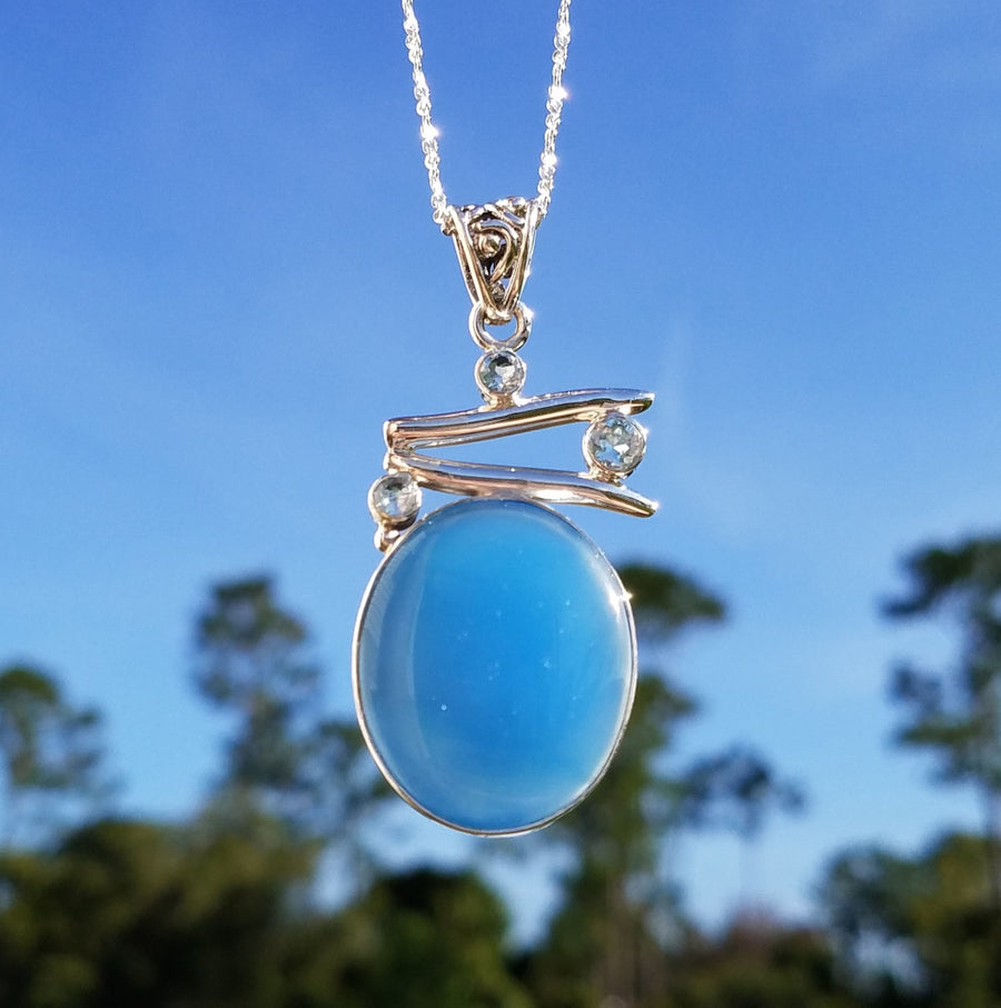 Blue Chalcedony And Topaz Gemstone Sterling Silver Pendant Jewelry