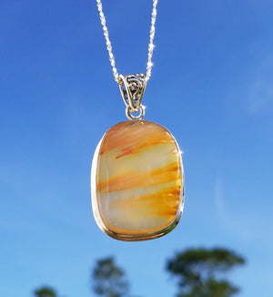 Sunset Agate Gemstone Sterling Silver Pendant Jewelry