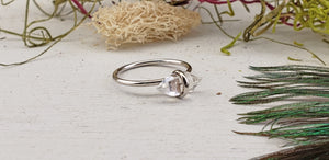 Herkimer Diamond Double Terminated Sterling Silver Ring