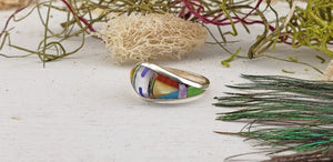 Gemstone Inlay Sterling Silver Ring with Turquoise, Mother of Pearl, Coral, Onyx